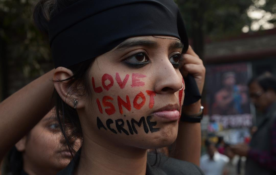 An Indian gay-rights activist takes part in a protest in Kolata against the 2013 Supreme Court ruling reinstating a ban on gay sex.  CREDIT: Dibyangshu Sarkar/AFP/Getty Images
