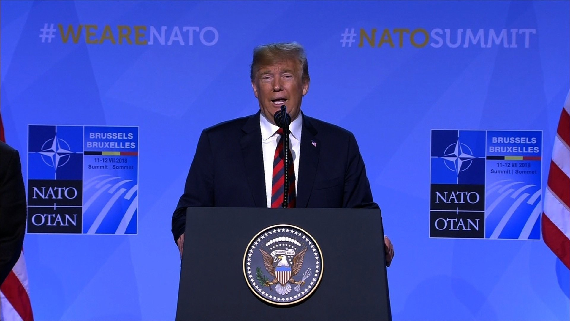 President Donald Trump addressed the US and foreign media Thursday following a contentious two days at the NATO summit in Brussels, Belgium.