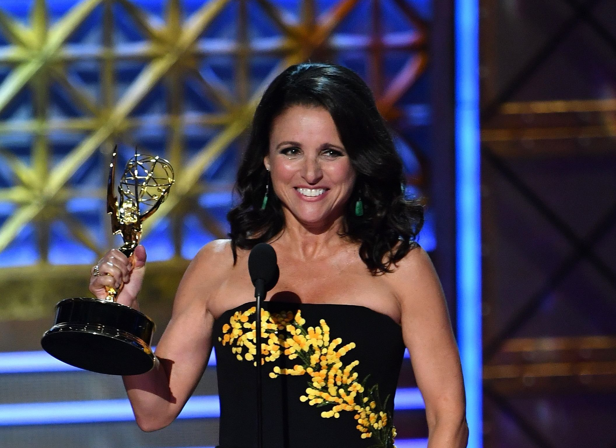 """""""Veep"""" star Julia Louis-Dreyfus took home her sixth consecutive win for outstanding actress in a comedy in 2017, which placed her firmly in the history books for most Emmys won by a performer for one role."""