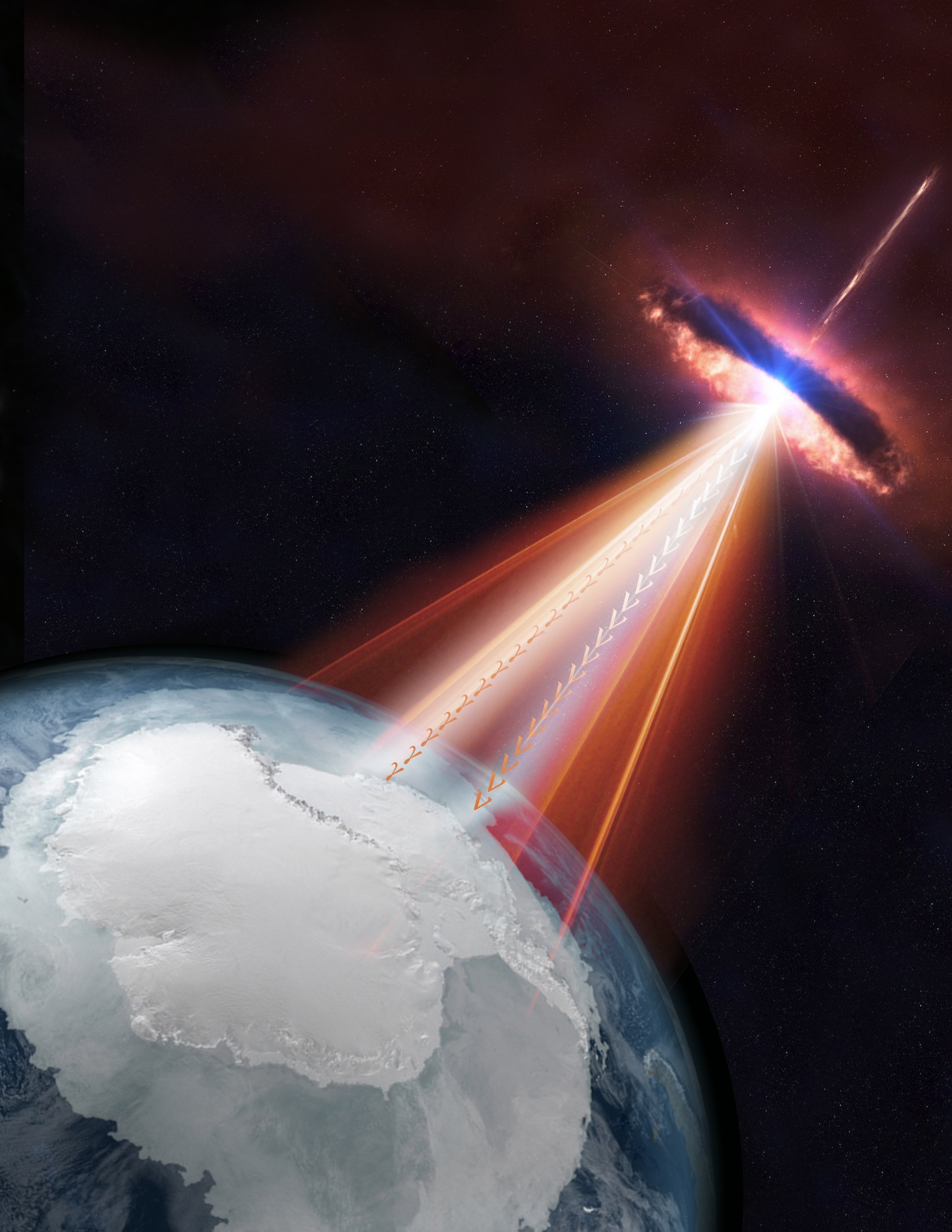 Blazars are a type of active galaxy with one of its jets pointing toward us. In this artistic rendering, a blazar emits both neutrinos and gamma rays could be detected by the IceCube Neutrino Observatory as well as by other telescopes on Earth and in...