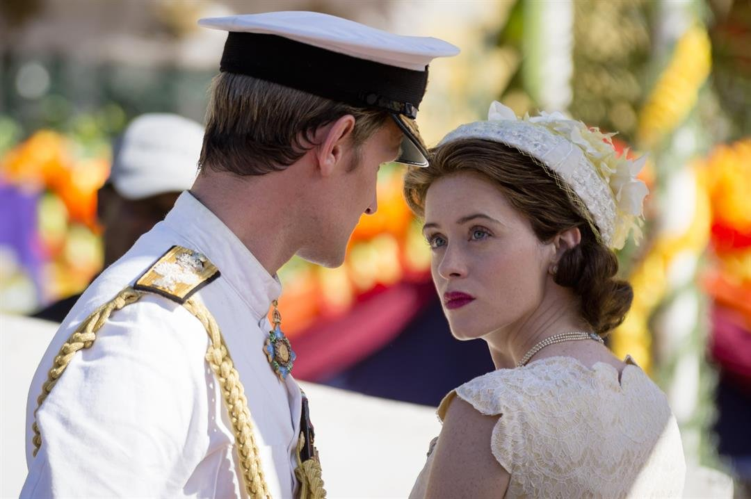 """Claire Foy as Queen Elizabeth II and Matt Smith as Prince Philip in an episode of Netflix's """"The Crown."""""""