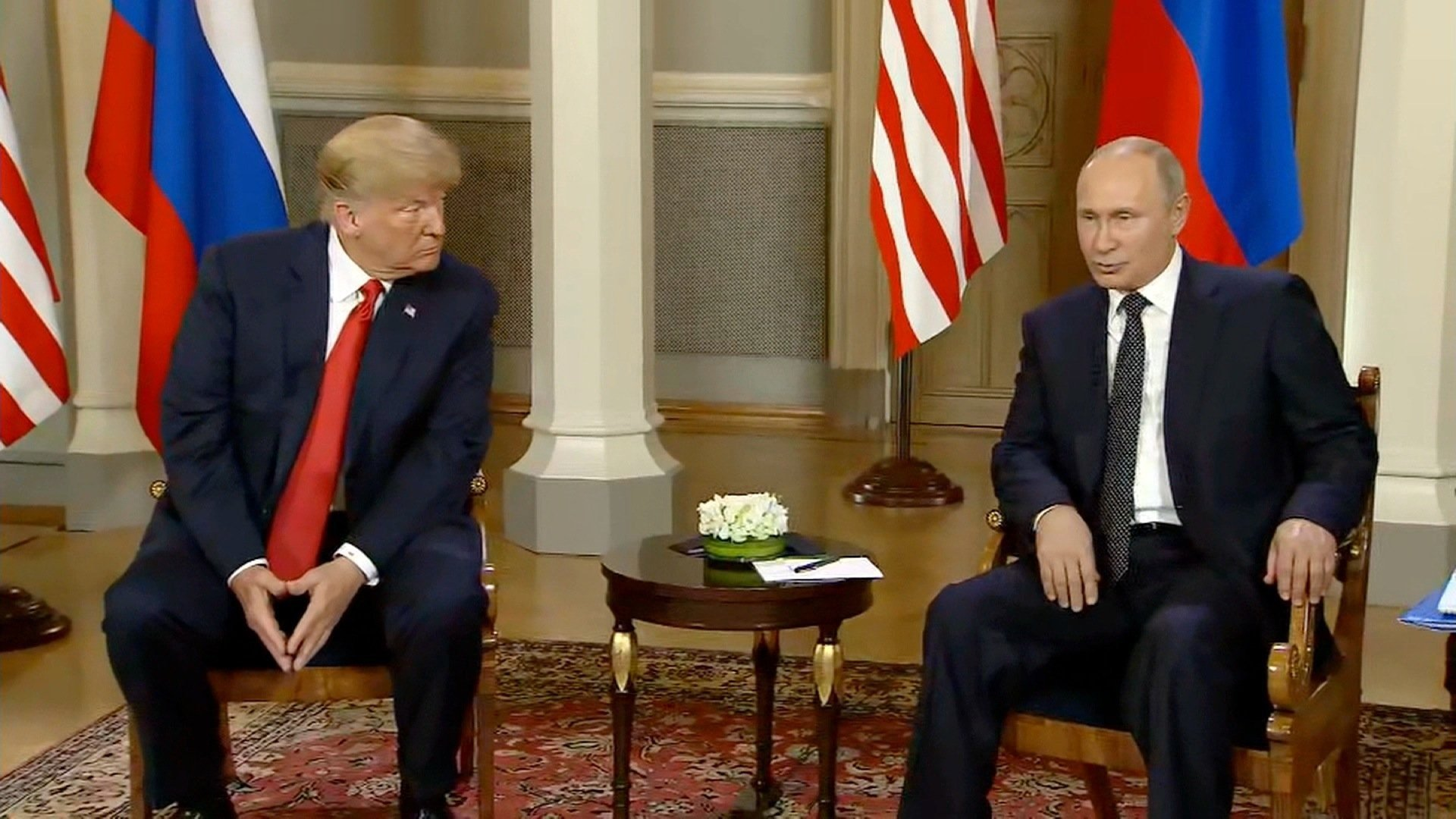 President Trump and Russian President Vladimir Putin speak at a summit