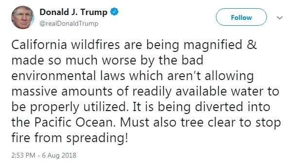 Even the White House can't explain President Donald Trump's tweets suggesting California environmental laws have worsened wildfires raging in that state.