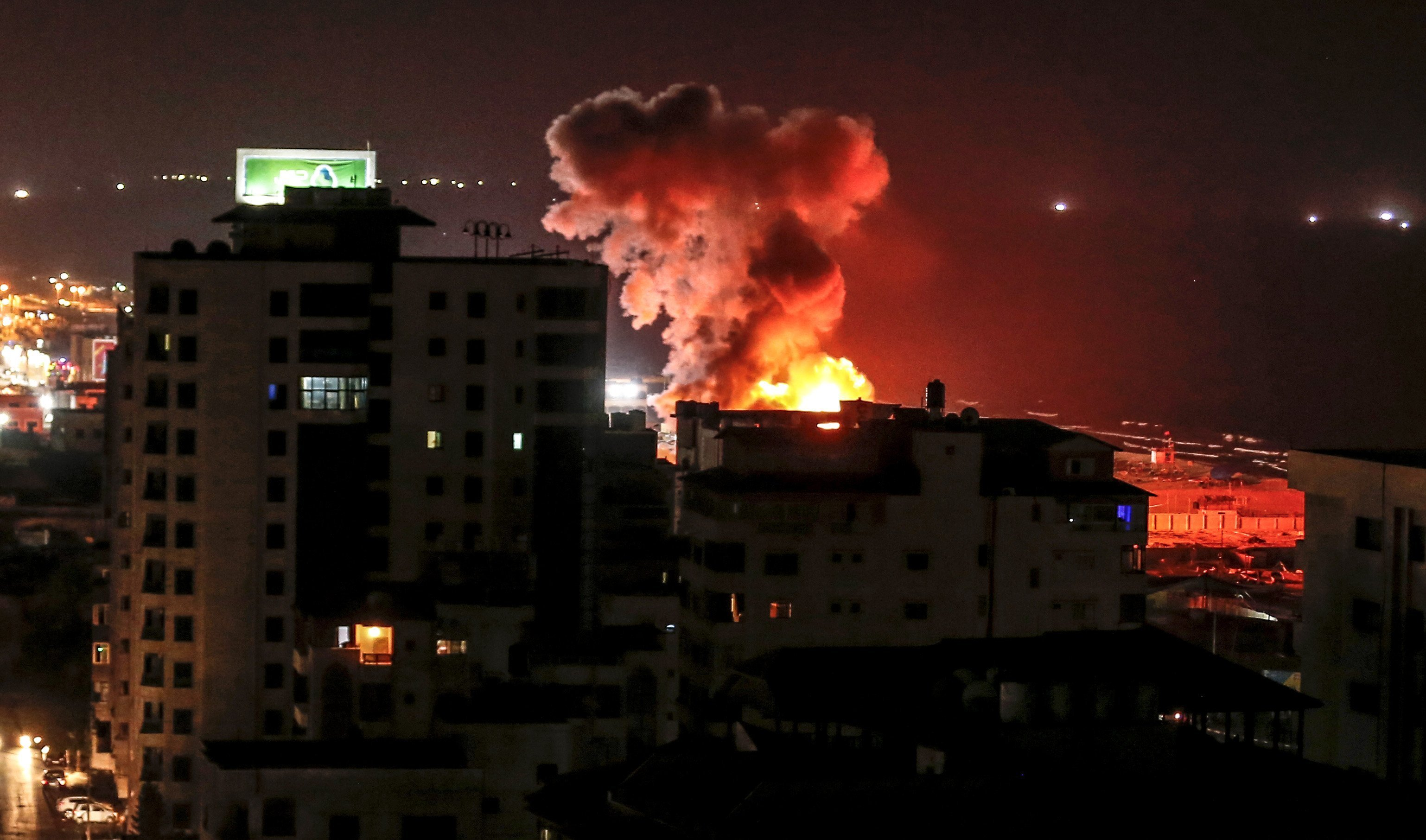Smoke rises following an Israeli air strike on Gaza City.