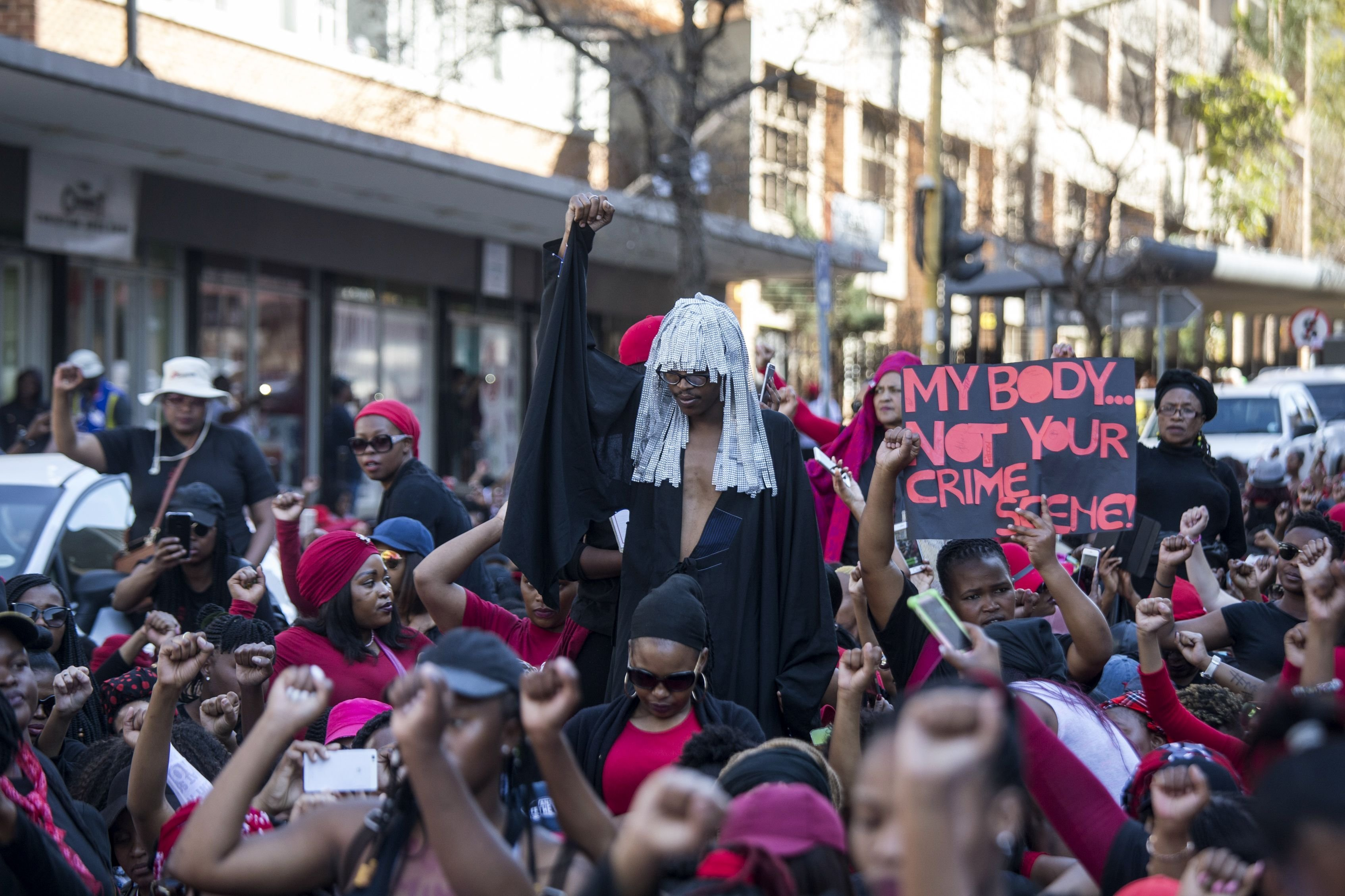 South African women at 'The TotalShutdown' march in Pretoria on August 1, 2018.