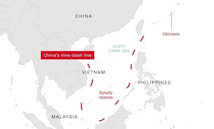 Vietnam, the Philippines, Taiwan, Indonesia, Malaysia and Brunei all claim overlapping portions of the sea which spans 3.6 million square kilometer (1.4 million square miles), but the most far-reaching claims have been made by China.