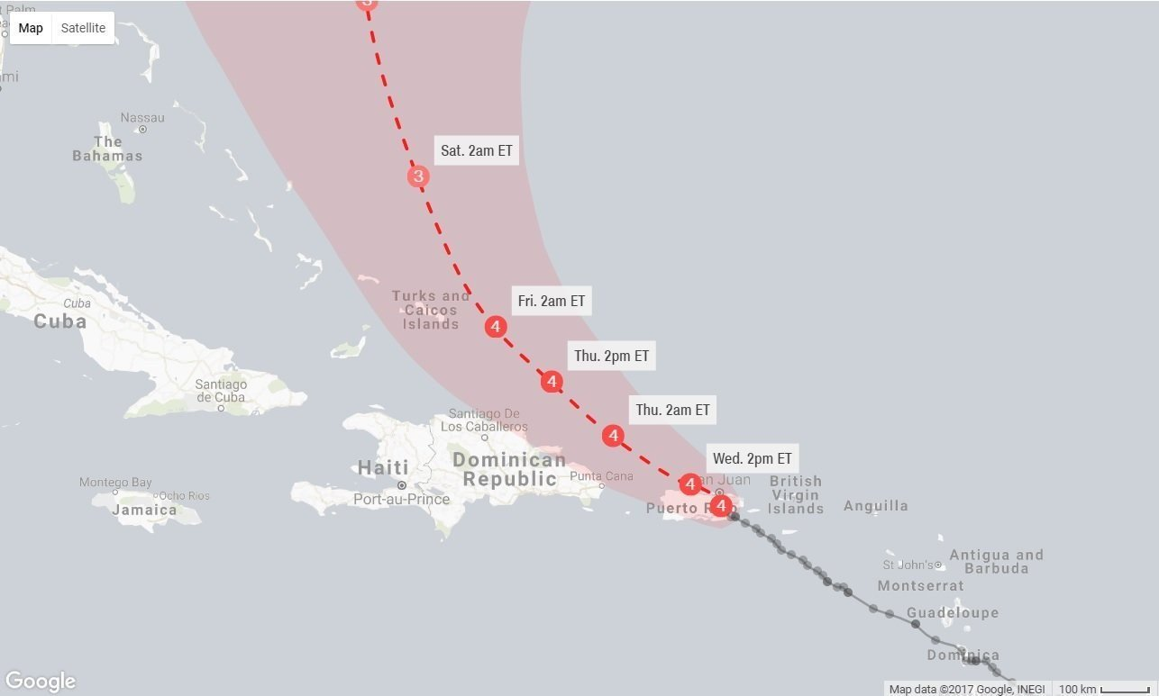 A Graphic Showing The Path Of Hurricane Maria As Of Early Morning On September 20