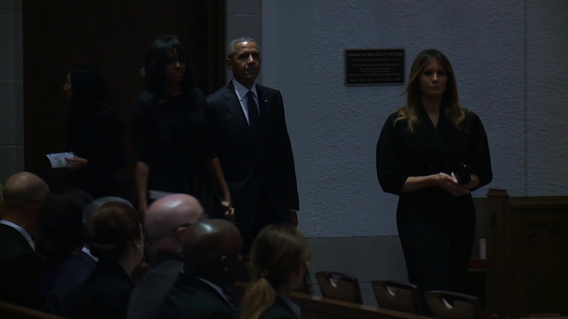 First Lady Melania Trump, former President Barack Obama and former First Lady Michelle Obama are seen here inside of St. Martin's Episcopal Church for the funeral of former First Lady Barbara Bush.