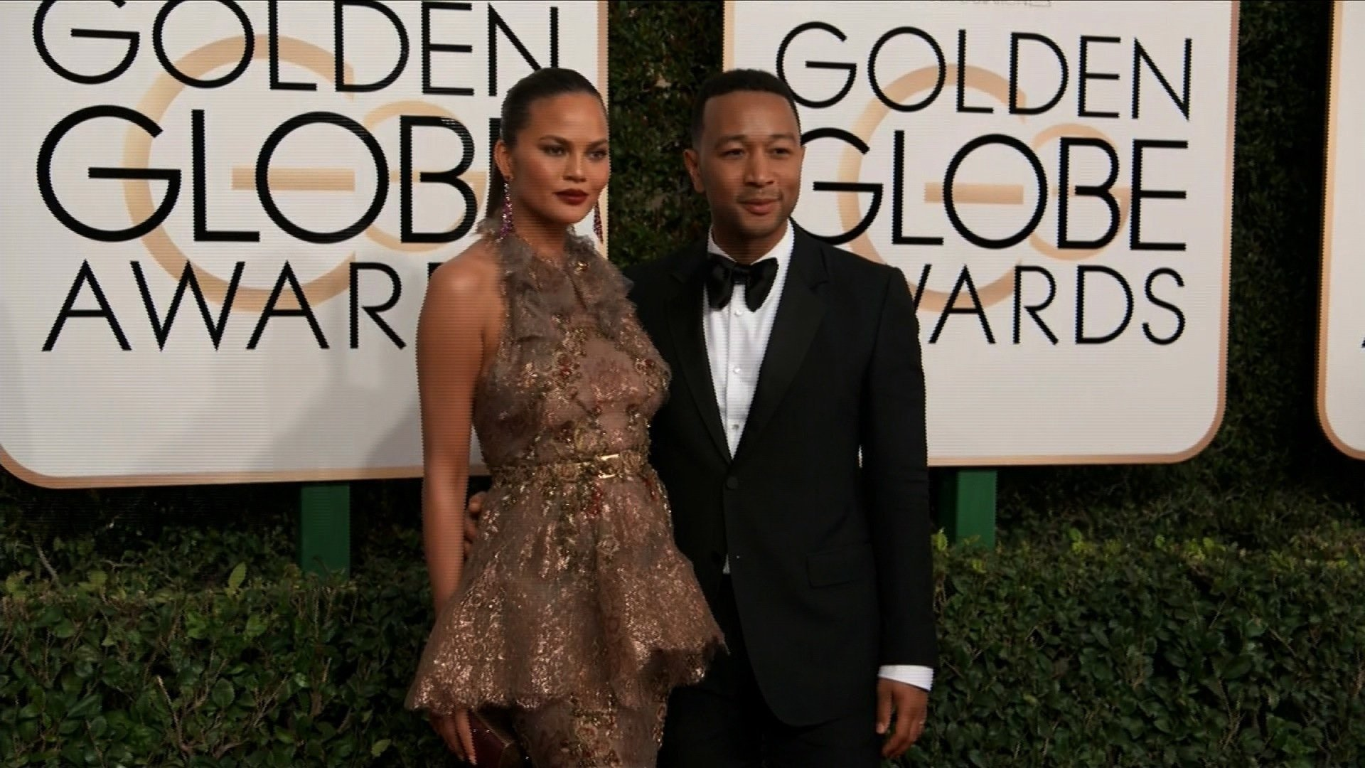 Chrissy Teigen and John Legend at the 74th annual Golden Globe Awards.