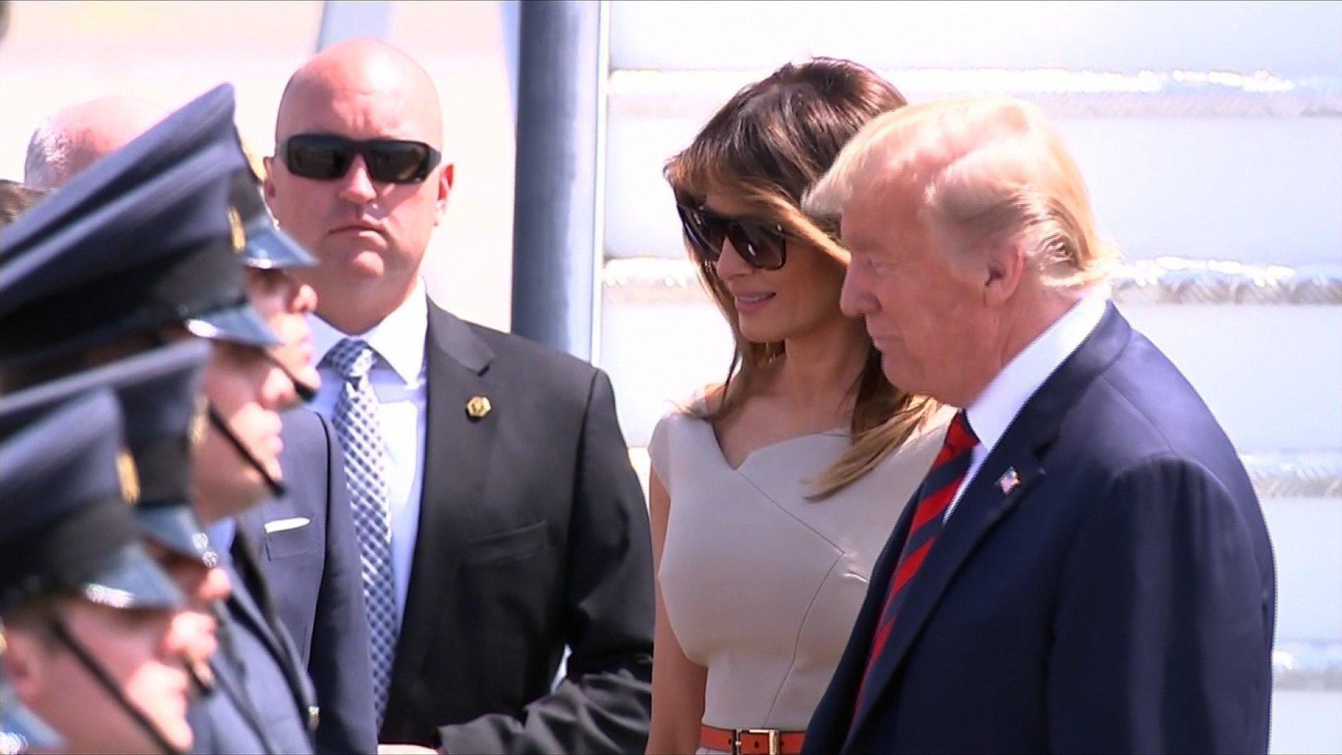 Donald Trump and Melania Trump arrive in London on Thursday.