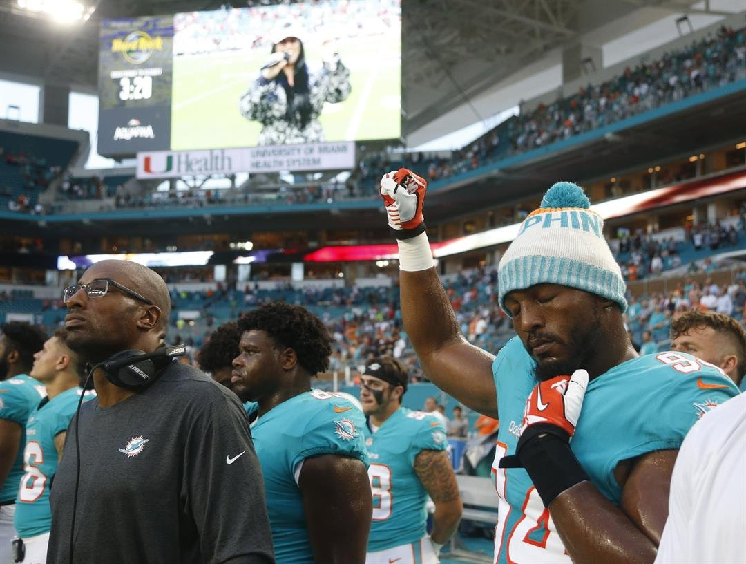 The NFL has said it won't punish the players who took part in the protests on Thursday, reiterating the league's decision to shelve its new policy regarding conduct surrounding the anthem until it reaches an agreement with the NFL Players Association.