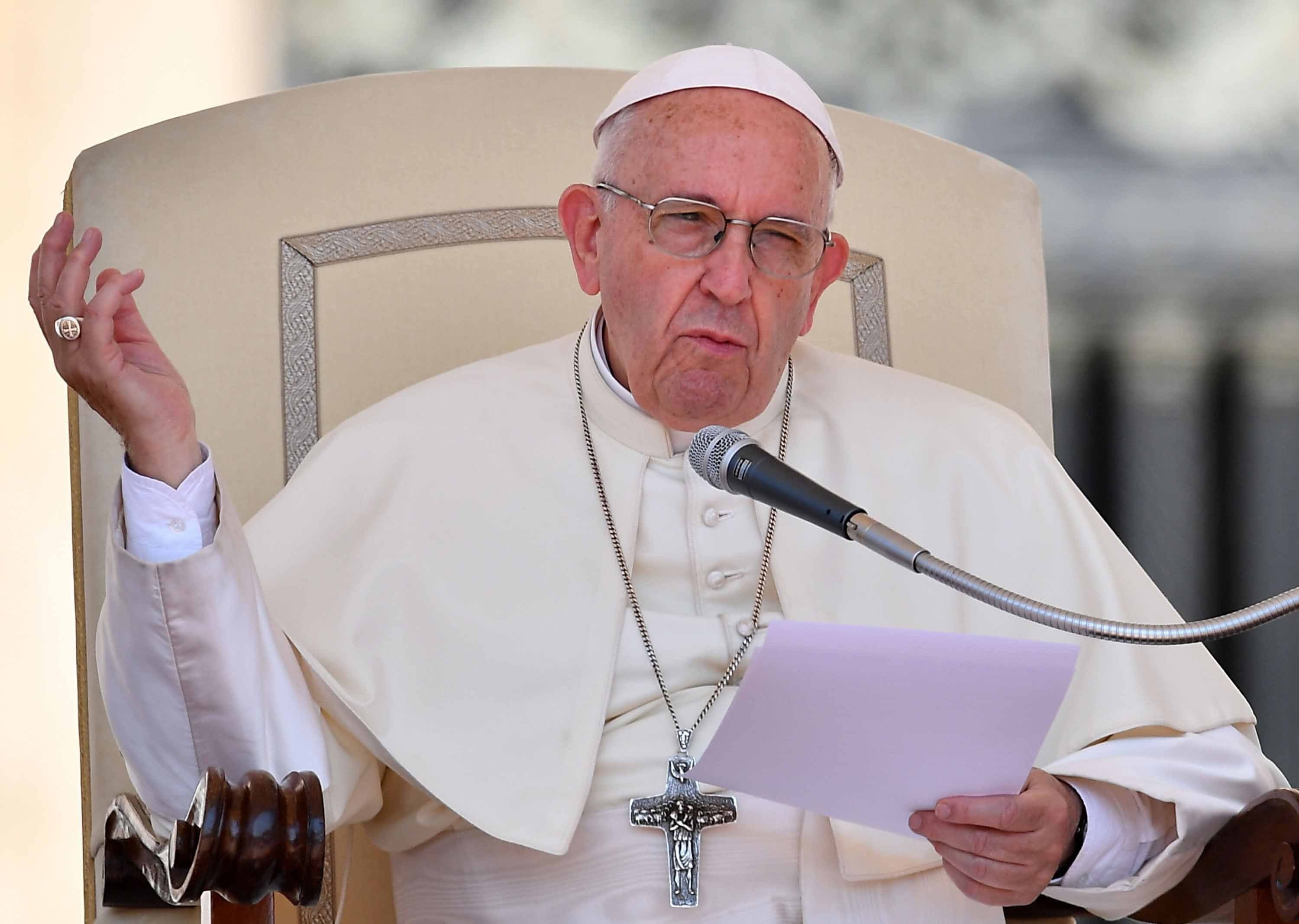 """Pope Francis has acknowledged """"with shame and repentance"""" the Catholic Church's failure to act over sexual abuse by clerics against minors going back decades, writing """"we showed no care for the little ones; we abandoned them."""" (FILE)"""