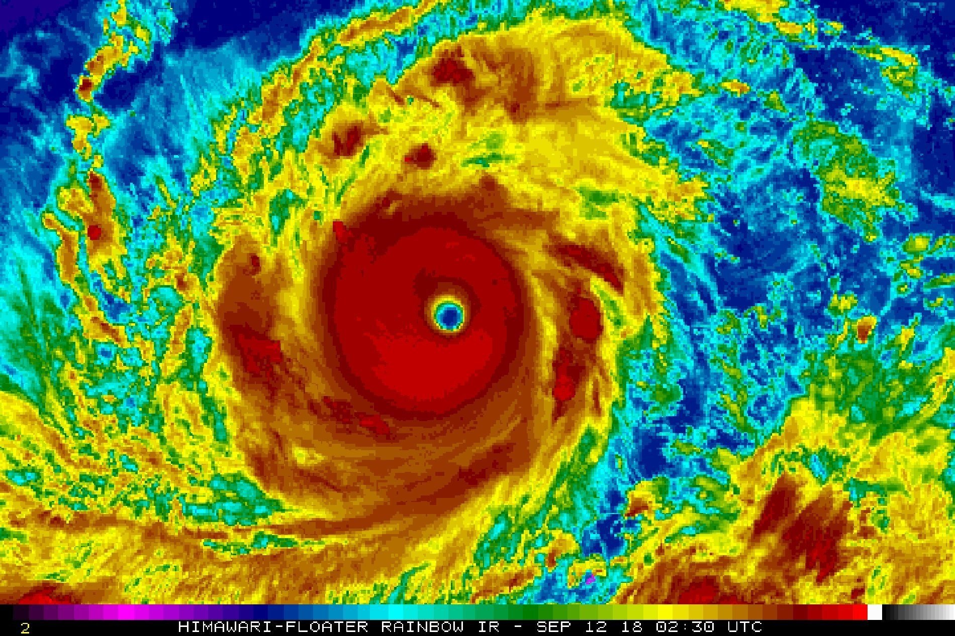 A satellite shot of Super Typhoon Mangkhut, currently barreling down on the Philippines and Hong Kong.