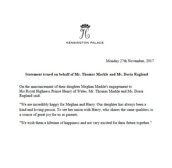 Pas Released A Congratulatory Announcement To Britain S Prince Harry And American Actor Meghan Markle Regarding Their