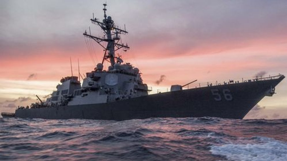 US watship warned by Russian ship